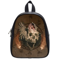 Awesome Creepy Skull With Rat And Wings School Bag (small) by FantasyWorld7