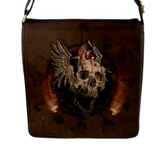 Awesome Creepy Skull With Rat And Wings Flap Messenger Bag (l)  by FantasyWorld7