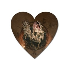 Awesome Creepy Skull With Rat And Wings Heart Magnet by FantasyWorld7