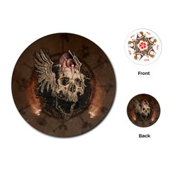 Awesome Creepy Skull With Rat And Wings Playing Cards (round)  by FantasyWorld7