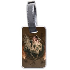 Awesome Creepy Skull With Rat And Wings Luggage Tags (one Side)  by FantasyWorld7