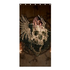 Awesome Creepy Skull With Rat And Wings Shower Curtain 36  X 72  (stall)  by FantasyWorld7