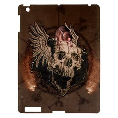 Awesome Creepy Skull With Rat And Wings Apple Ipad 3/4 Hardshell Case by FantasyWorld7