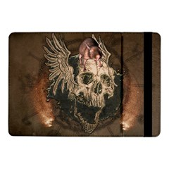 Awesome Creepy Skull With Rat And Wings Samsung Galaxy Tab Pro 10 1  Flip Case by FantasyWorld7