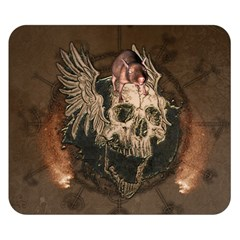 Awesome Creepy Skull With Rat And Wings Double Sided Flano Blanket (small)  by FantasyWorld7