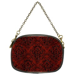 Damask1 Black Marble & Reddish Brown Wood Chain Purses (one Side)  by trendistuff