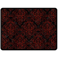 Damask1 Black Marble & Reddish Brown Wood (r) Double Sided Fleece Blanket (large)  by trendistuff