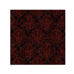 Damask1 Black Marble & Reddish Brown Wood (r) Small Satin Scarf (square) by trendistuff