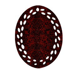 Damask2 Black Marble & Reddish Brown Wood Oval Filigree Ornament (two Sides) by trendistuff