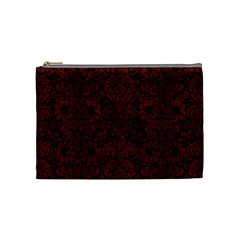 Damask2 Black Marble & Reddish Brown Wood (r) Cosmetic Bag (medium)  by trendistuff