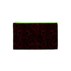 Damask2 Black Marble & Reddish Brown Wood (r) Cosmetic Bag (xs) by trendistuff