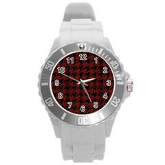 Houndstooth1 Black Marble & Reddish Brown Wood Round Plastic Sport Watch (l) by trendistuff