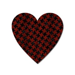 Houndstooth2 Black Marble & Reddish Brown Wood Heart Magnet by trendistuff