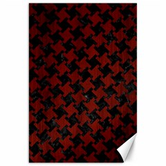 Houndstooth2 Black Marble & Reddish Brown Wood Canvas 20  X 30   by trendistuff
