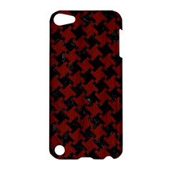 Houndstooth2 Black Marble & Reddish Brown Wood Apple Ipod Touch 5 Hardshell Case by trendistuff