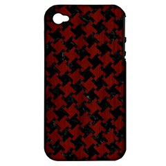 Houndstooth2 Black Marble & Reddish Brown Wood Apple Iphone 4/4s Hardshell Case (pc+silicone) by trendistuff