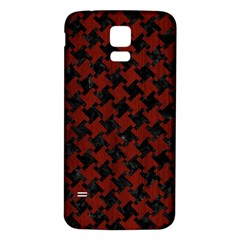 Houndstooth2 Black Marble & Reddish Brown Wood Samsung Galaxy S5 Back Case (white) by trendistuff