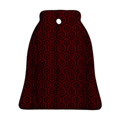 Hexagon1 Black Marble & Reddish Brown Wood Bell Ornament (two Sides)