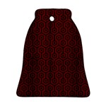 HEXAGON1 BLACK MARBLE & REDDISH-BROWN WOOD Bell Ornament (Two Sides) Front