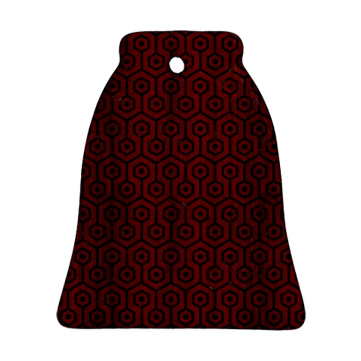 HEXAGON1 BLACK MARBLE & REDDISH-BROWN WOOD Bell Ornament (Two Sides)
