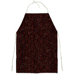 Hexagon1 Black Marble & Reddish Brown Wood (r) Full Print Aprons by trendistuff