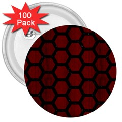 Hexagon2 Black Marble & Reddish Brown Wood 3  Buttons (100 Pack)  by trendistuff