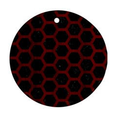 Hexagon2 Black Marble & Reddish Brown Wood (r) Round Ornament (two Sides) by trendistuff