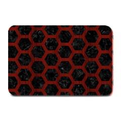 Hexagon2 Black Marble & Reddish Brown Wood (r) Plate Mats by trendistuff