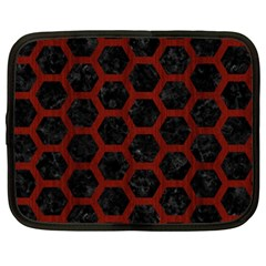 Hexagon2 Black Marble & Reddish Brown Wood (r) Netbook Case (xxl)  by trendistuff