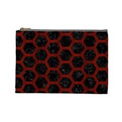 Hexagon2 Black Marble & Reddish Brown Wood (r) Cosmetic Bag (large)  by trendistuff