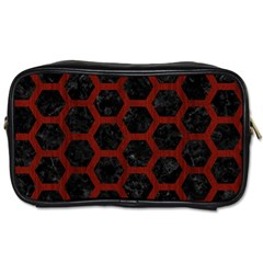 Hexagon2 Black Marble & Reddish Brown Wood (r) Toiletries Bags 2 Side by trendistuff