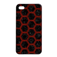 Hexagon2 Black Marble & Reddish Brown Wood (r) Apple Iphone 4/4s Seamless Case (black) by trendistuff