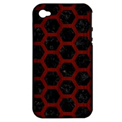 Hexagon2 Black Marble & Reddish Brown Wood (r) Apple Iphone 4/4s Hardshell Case (pc+silicone) by trendistuff