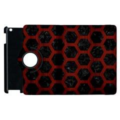 Hexagon2 Black Marble & Reddish Brown Wood (r) Apple Ipad 2 Flip 360 Case by trendistuff