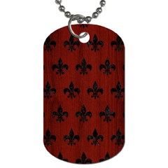 Royal1 Black Marble & Reddish Brown Wood (r) Dog Tag (two Sides) by trendistuff