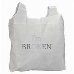 I Am Ok   Broken Recycle Bag (one Side) by Valentinaart