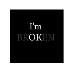 I Am Ok   Broken Small Satin Scarf (square) by Valentinaart