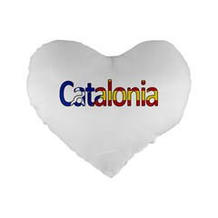 Catalonia Standard 16  Premium Flano Heart Shape Cushions by Valentinaart