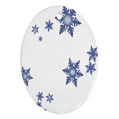 Star Snow Blue Rain Cool Ornament (oval) by AnjaniArt