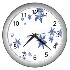 Star Snow Blue Rain Cool Wall Clocks (silver)  by AnjaniArt