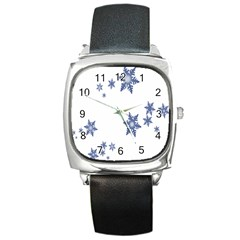 Star Snow Blue Rain Cool Square Metal Watch by AnjaniArt