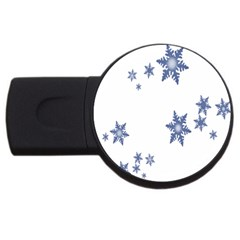 Star Snow Blue Rain Cool Usb Flash Drive Round (4 Gb) by AnjaniArt