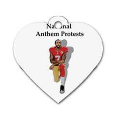 National Anthem Protest Dog Tag Heart (two Sides) by Valentinaart