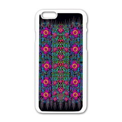 Flowers From Paradise Colors And Star Rain Apple Iphone 6/6s White Enamel Case by pepitasart