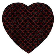Scales1 Black Marble & Reddish Brown Wood (r) Jigsaw Puzzle (heart) by trendistuff