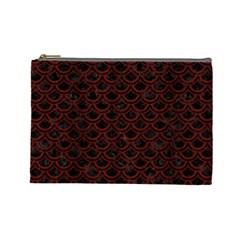 Scales2 Black Marble & Reddish Brown Wood (r) Cosmetic Bag (large)  by trendistuff