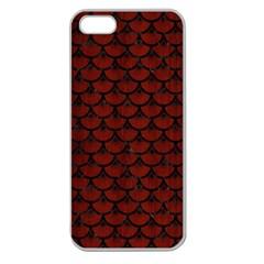 Scales3 Black Marble & Reddish Brown Wood Apple Seamless Iphone 5 Case (clear) by trendistuff