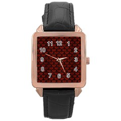 Scales3 Black Marble & Reddish Brown Wood Rose Gold Leather Watch  by trendistuff