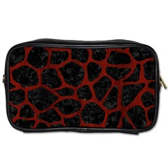 Skin1 Black Marble & Reddish Brown Wood Toiletries Bags by trendistuff