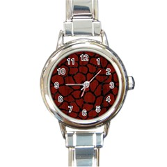 Skin1 Black Marble & Reddish Brown Wood (r) Round Italian Charm Watch by trendistuff